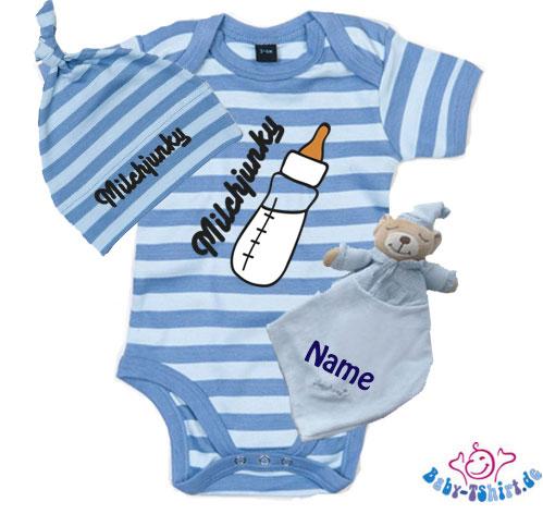 a808222f0d5149 Tolles Erstlingsgeschenk für Jungen zur Geburt mit Milchjunky Aufdruck